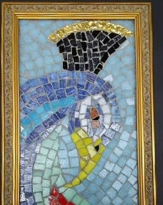 Peacock mosaic framed